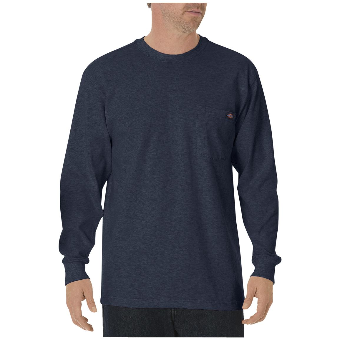 Dickies® Long-sleeved Heavyweight Crew Neck T-shirt, Dark Navy
