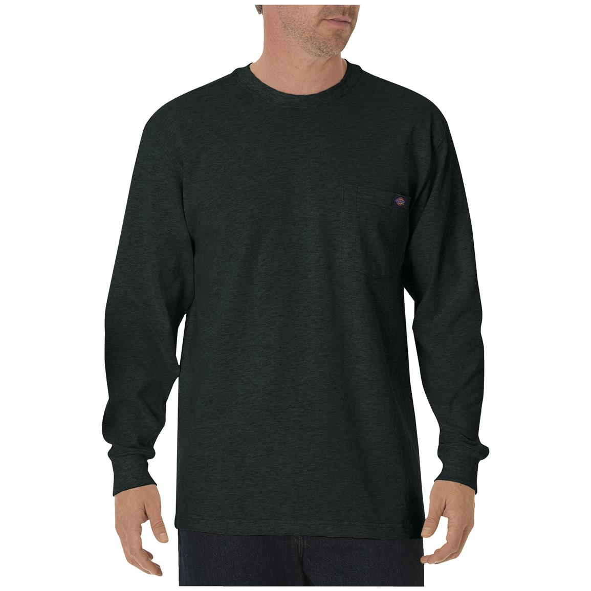 Dickies® Long-sleeved Heavyweight Crew Neck T-shirt, Hunter Green