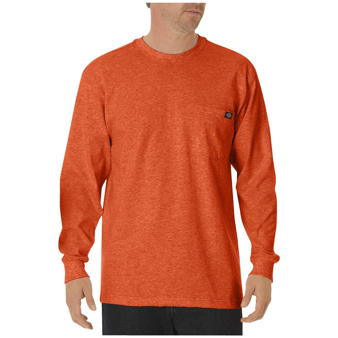 Dickies® Long-sleeved Heavyweight Crew Neck T-shirt, Orange