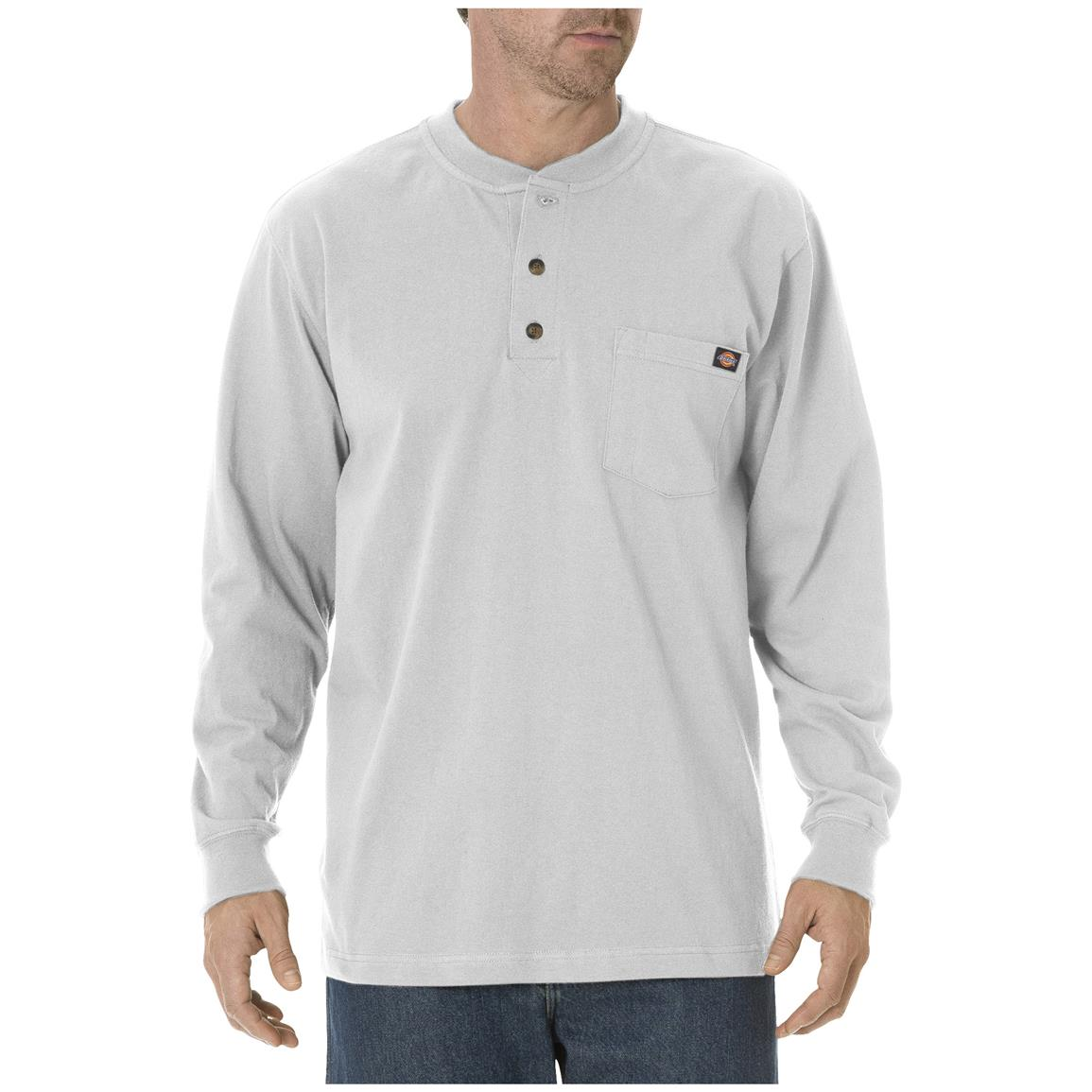 Dickies® Long-sleeved Heavyweight Henley, Ash Gray