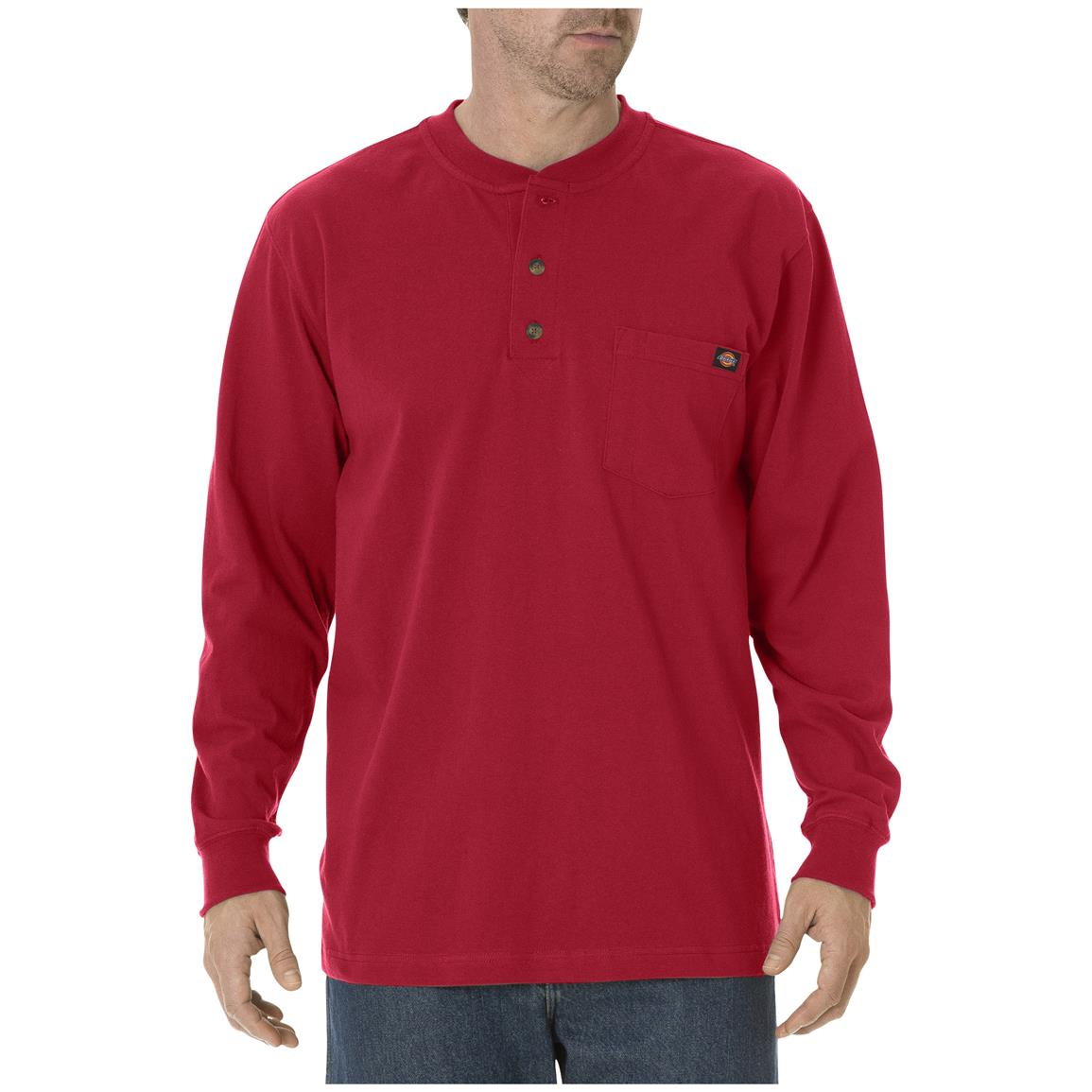 Dickies® Long-sleeved Heavyweight Henley, English Red