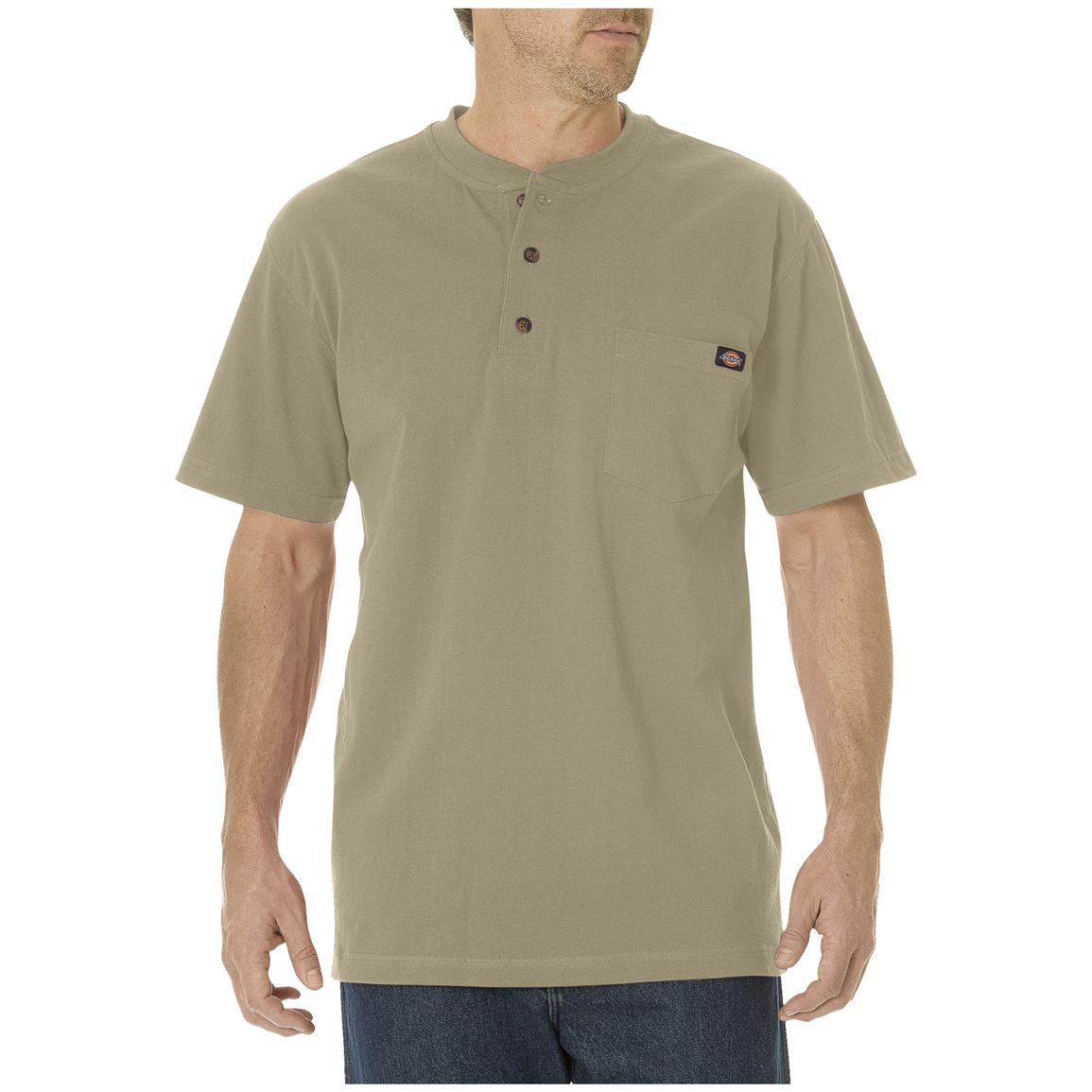 Dickies® Short-sleeved Heavyweight Henley, Desert Sand