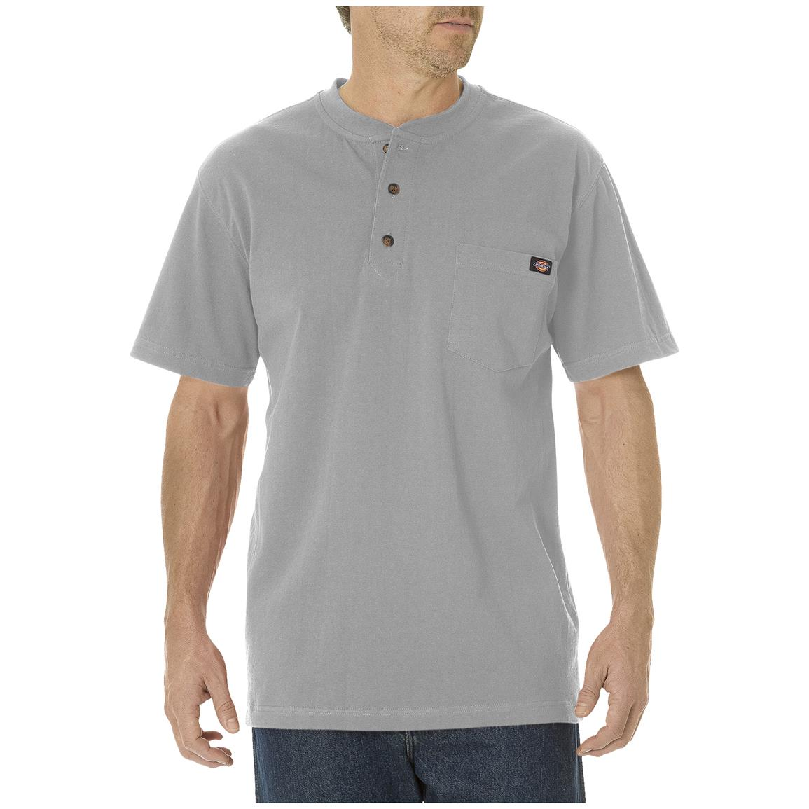 Dickies® Short-sleeved Heavyweight Henley, Heather Gray