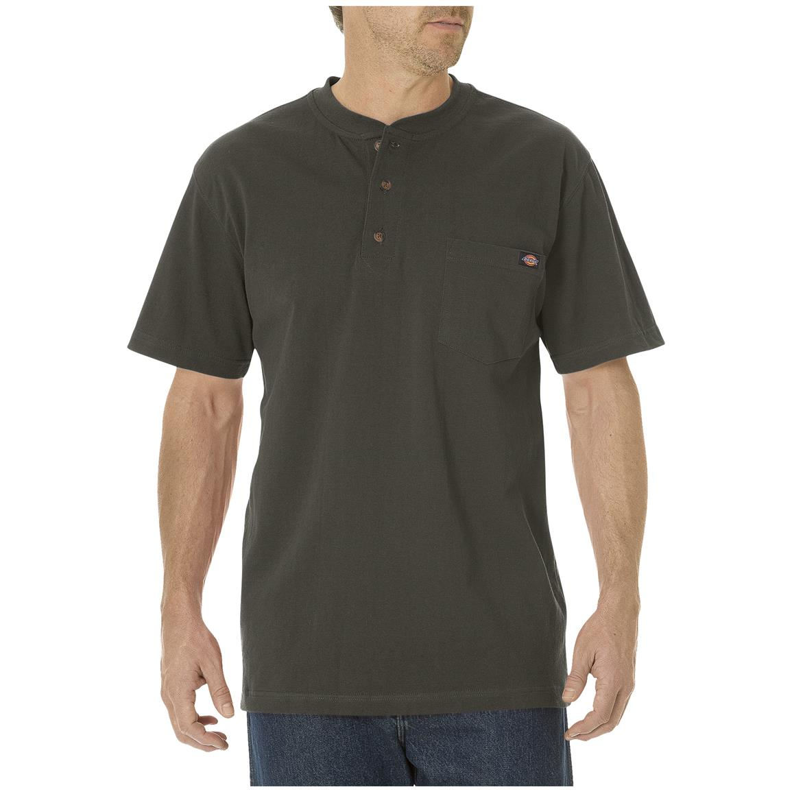 Dickies® Short-sleeved Heavyweight Henley, Black Olive