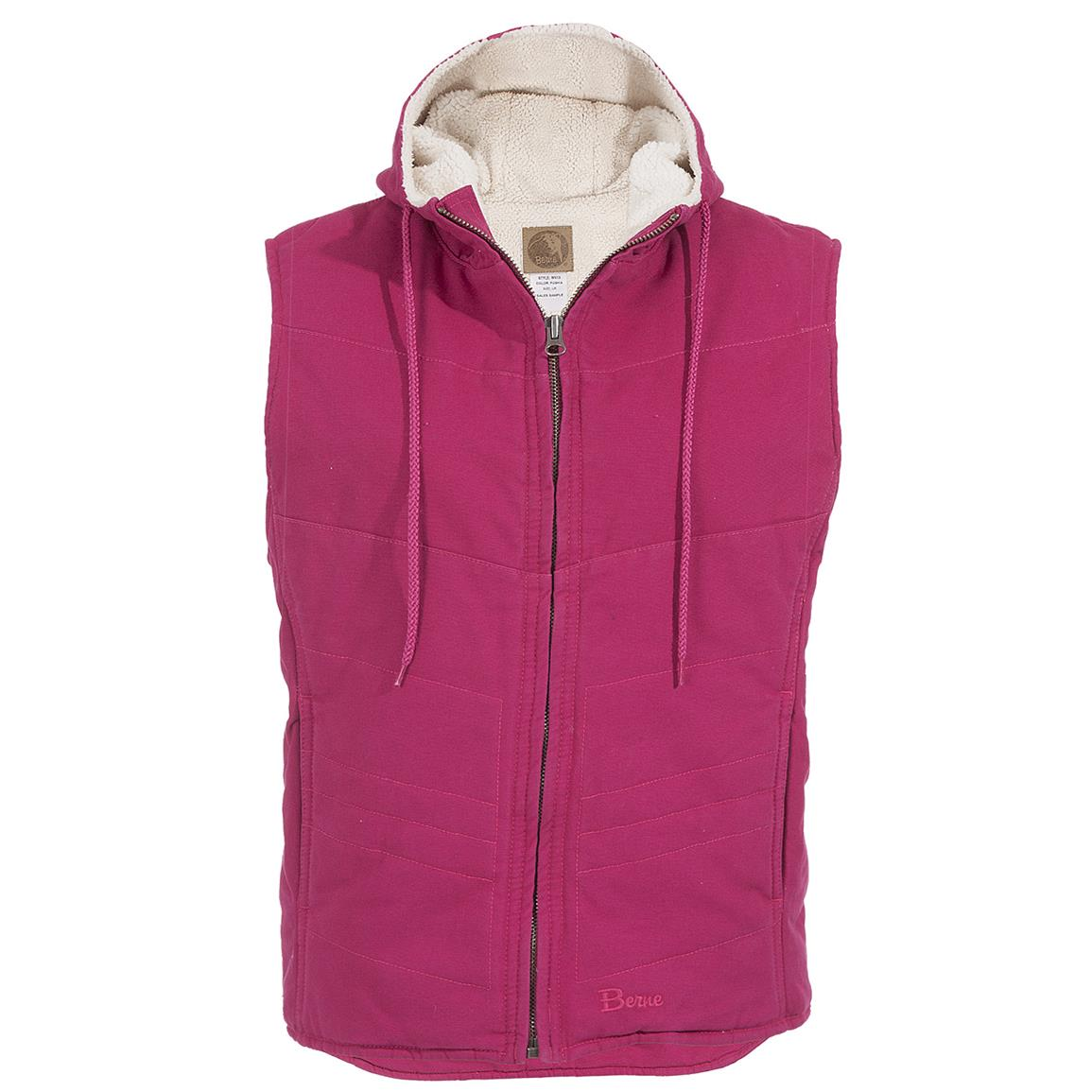 Women's Berne® Washed Hooded Vest, Fuchsia