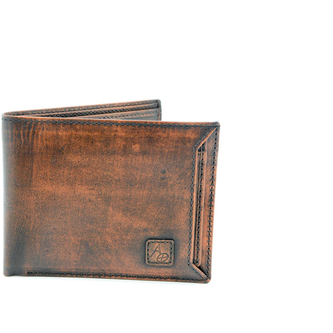American Outdoorsman Washed Leather Bifold Wallet with Detachable ID Holder. Brown
