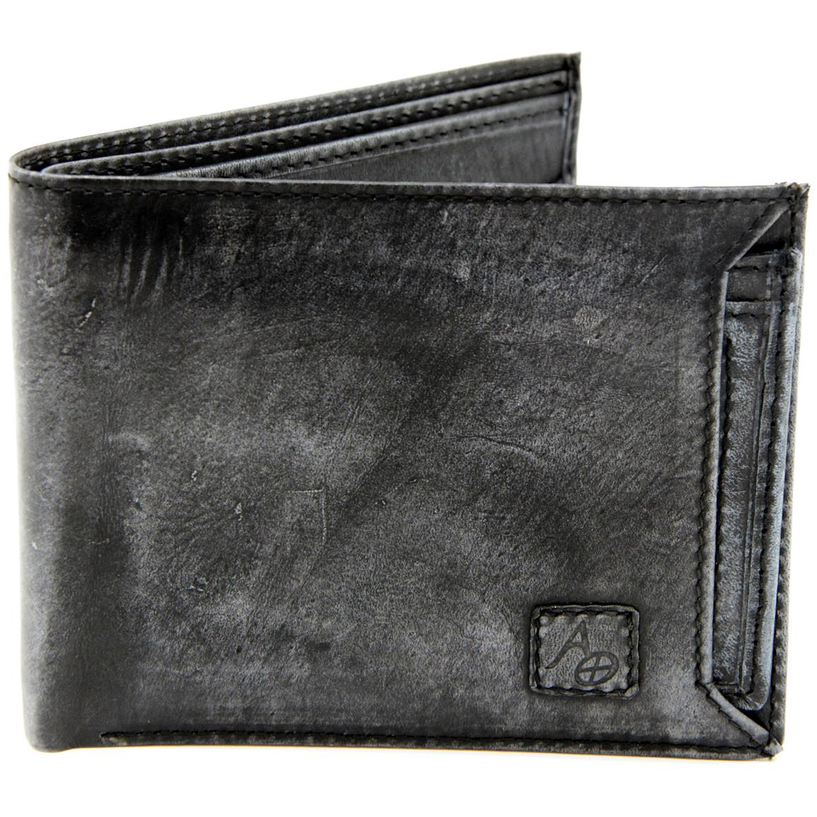 American Outdoorsman Washed Leather Bifold Wallet with Detachable ID Holder, Black