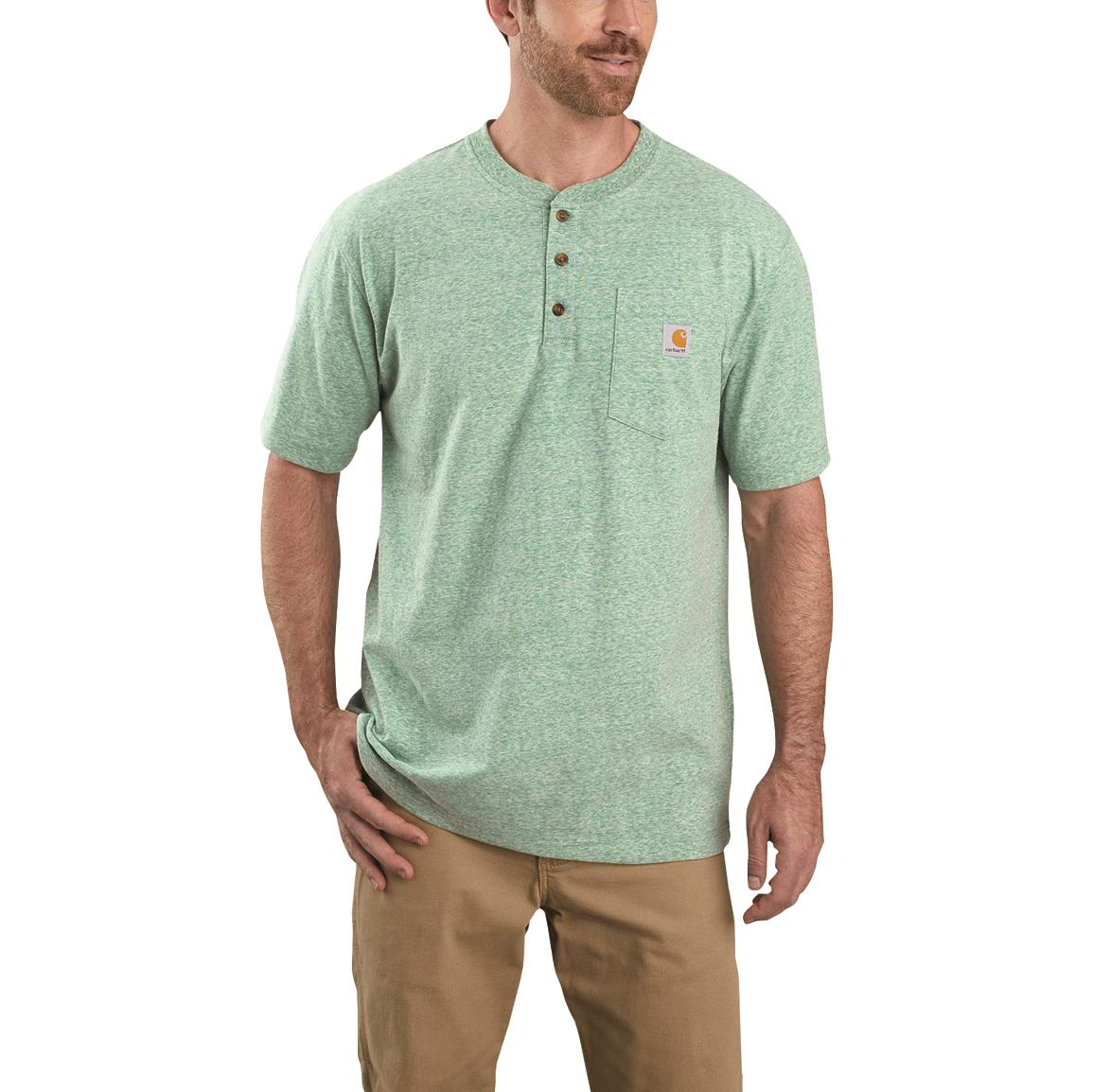 Carhartt Men's Workwear Short Sleeve Henley Pocket Shirt, Musk Green Snow Heather