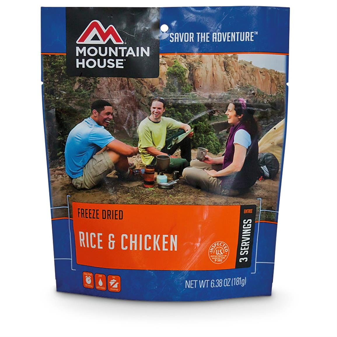 Mountain House Emergency Food Freeze-Dried Rice and Chicken, 2 Pouches