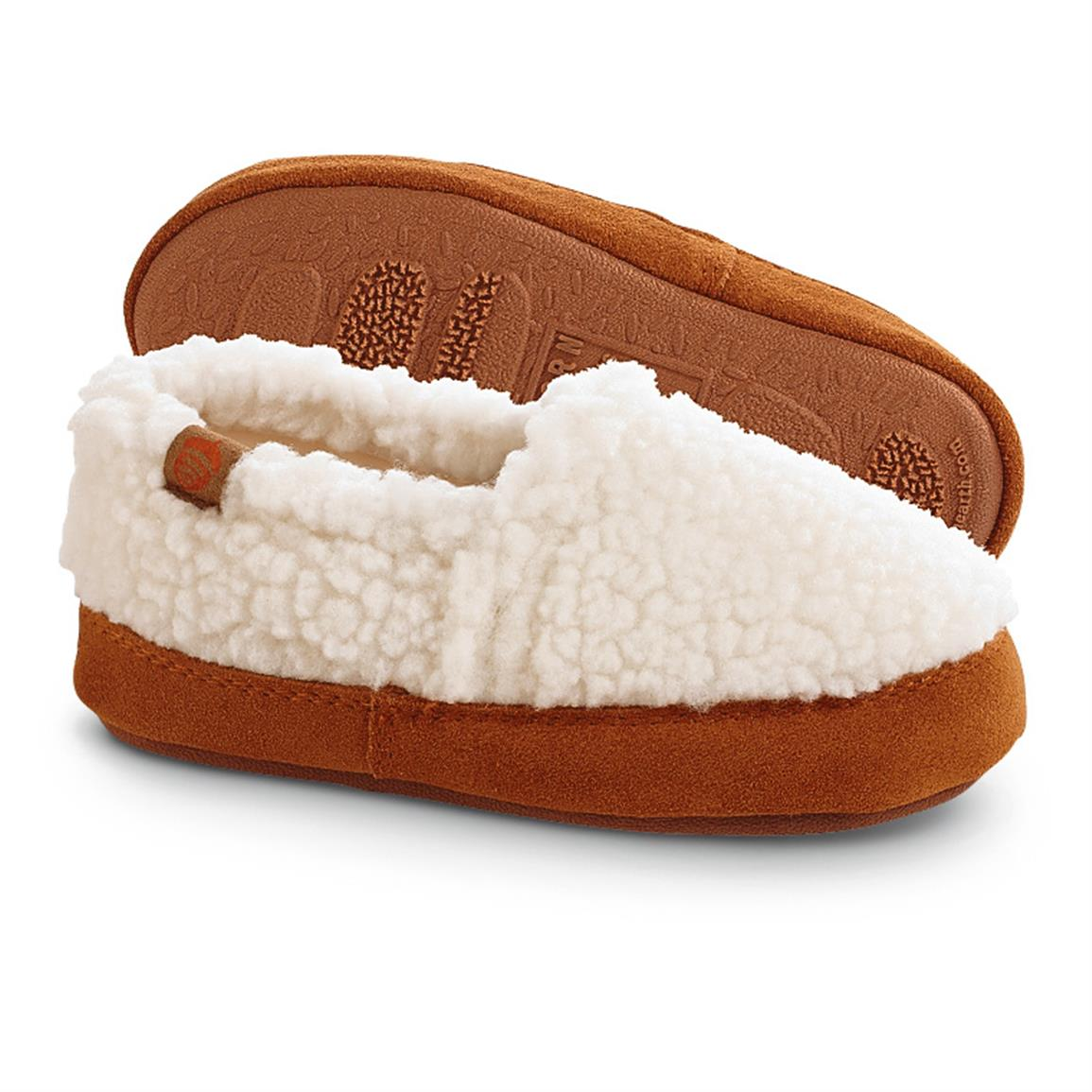 Acorn Kid's Moc Slippers, Buff Popcorn
