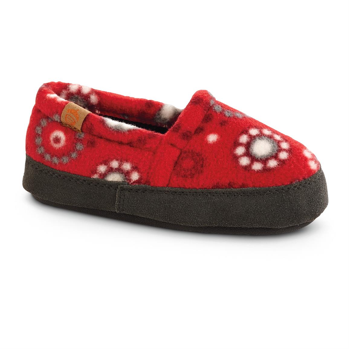 Acorn Kid's Moc Slippers, Red Dots