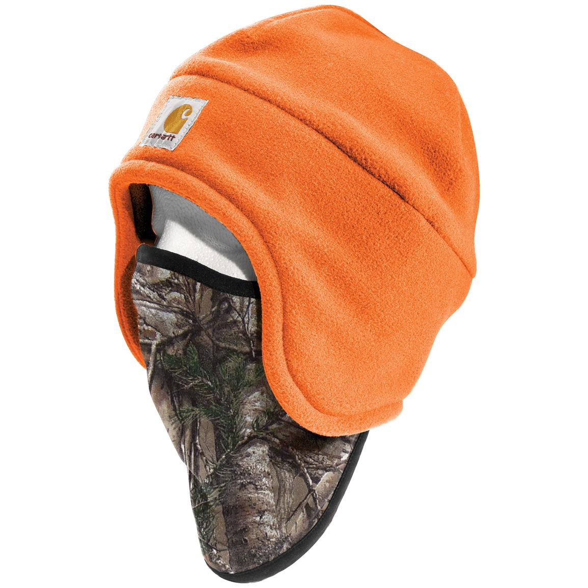 Carhartt Fleece 2-in-1 Hat with Face Mask, Bright Orange