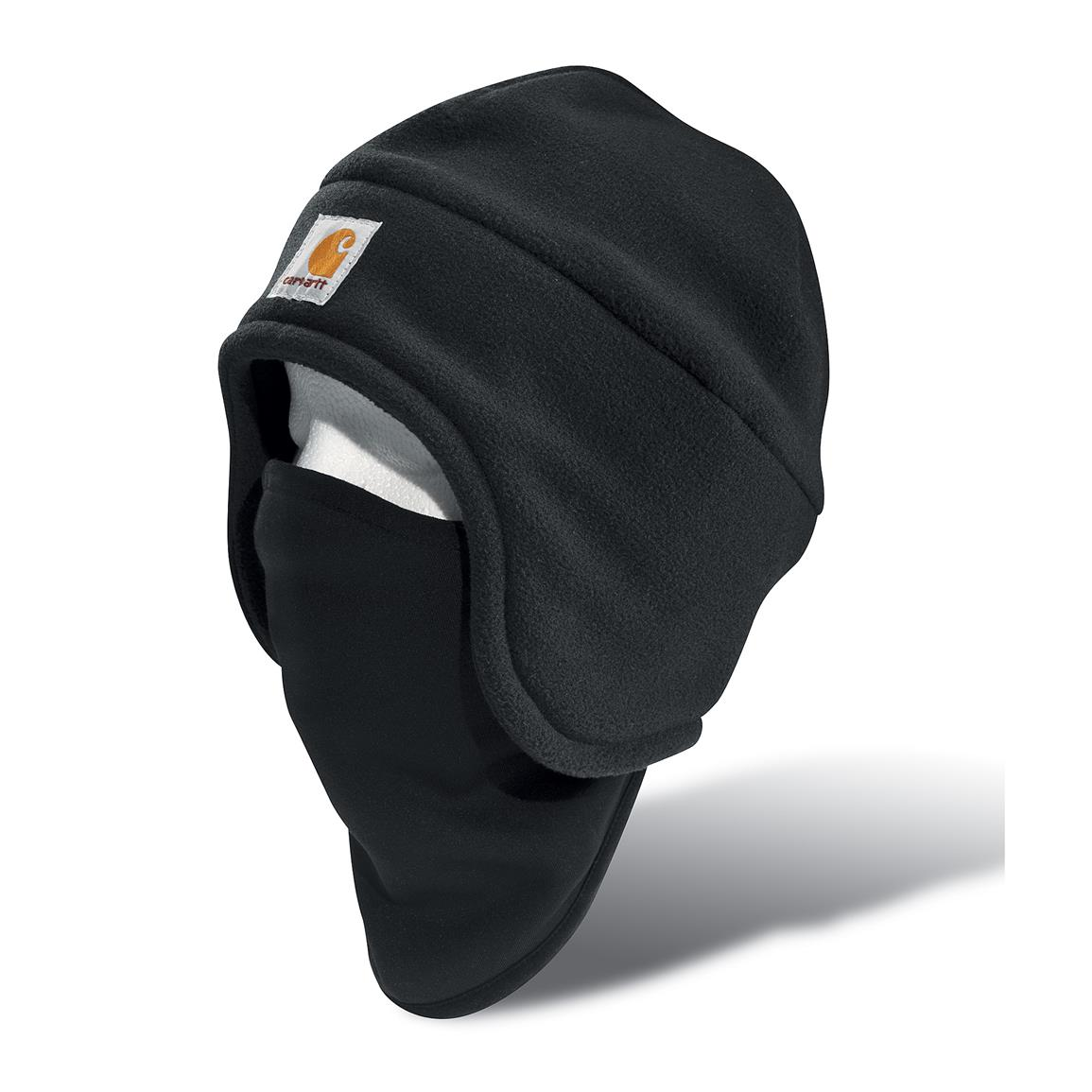Carhartt Fleece 2-in-1 Hat with Face Mask, Black