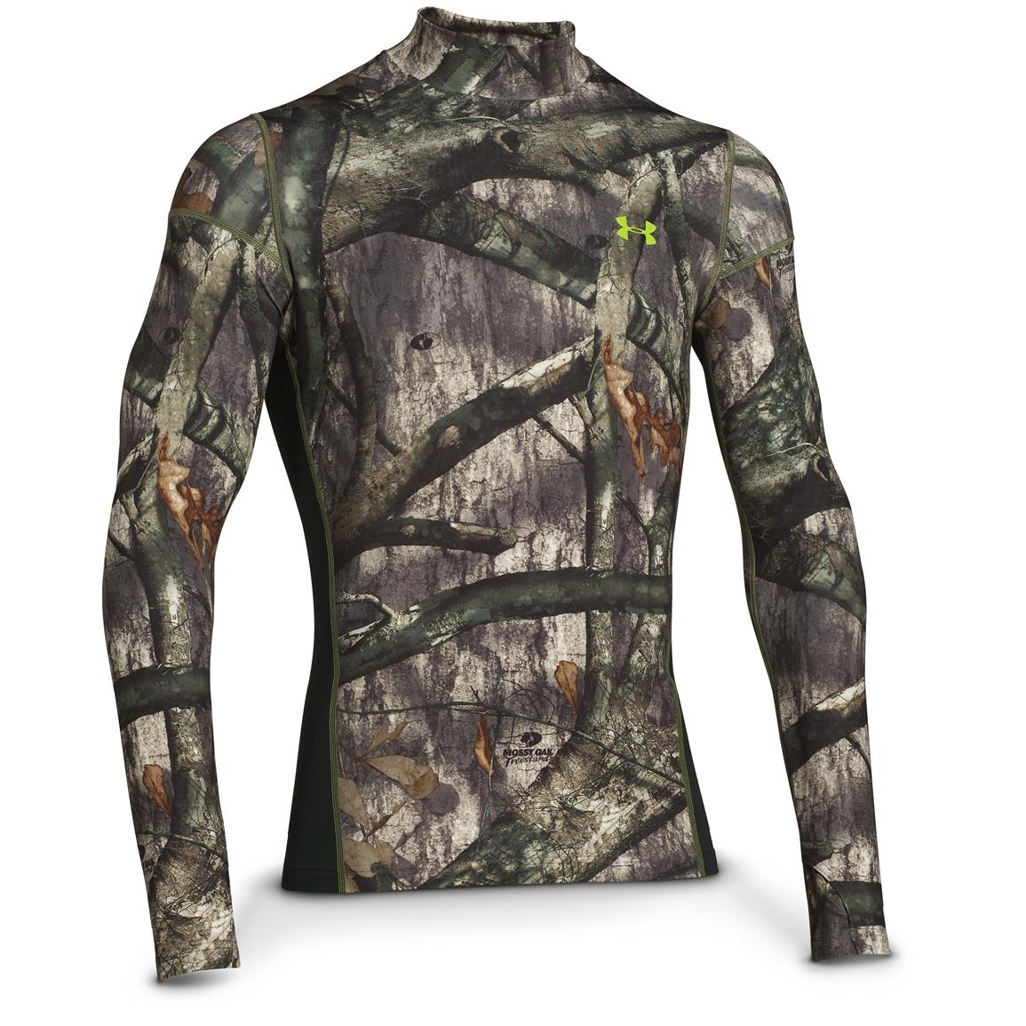 Under Armour ColdGear Infrared Scent Control Tevo Mock Long-Sleeve Shirt, Mossy Oak Treestand