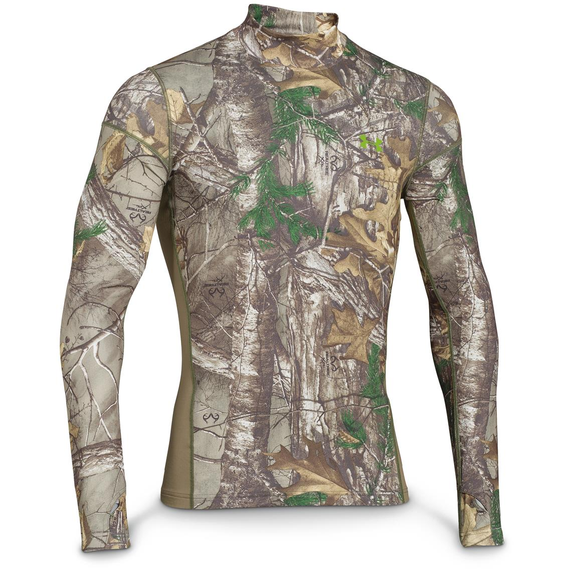 Under Armour ColdGear Infrared Scent Control Tevo Mock Long-Sleeve Shirt, Realtree Xtra