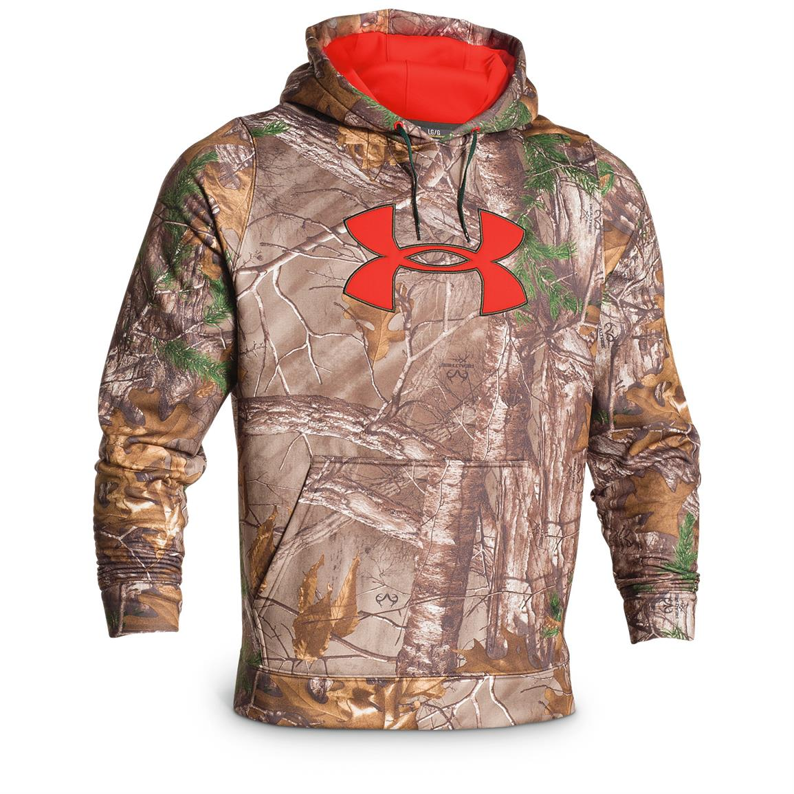 Under Armour Men's Camo Big Logo Fleece Hoodie, Realtree Xtra / Bolt Orange