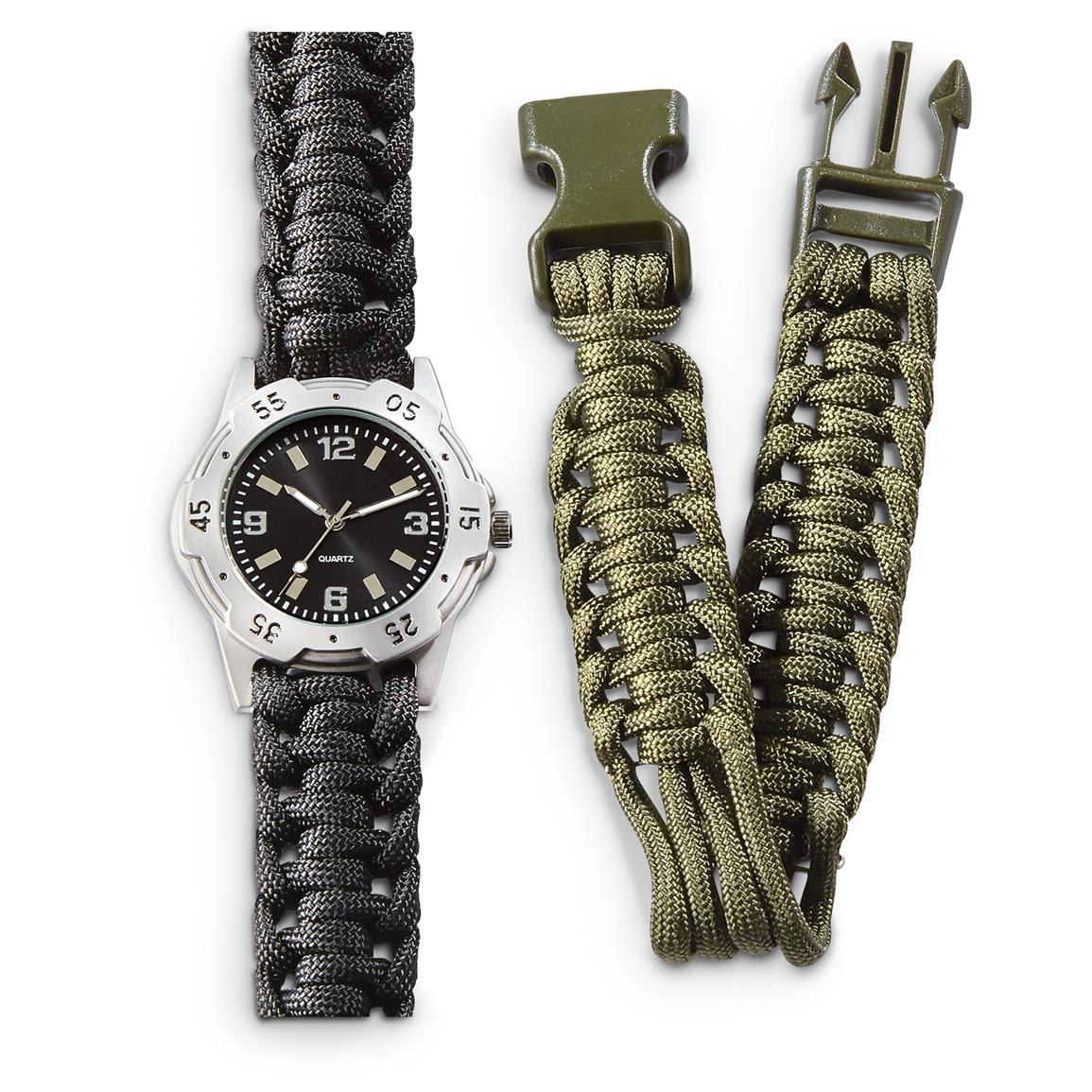 Mil-Tec Military Style Watch with 2 Paracord Bands