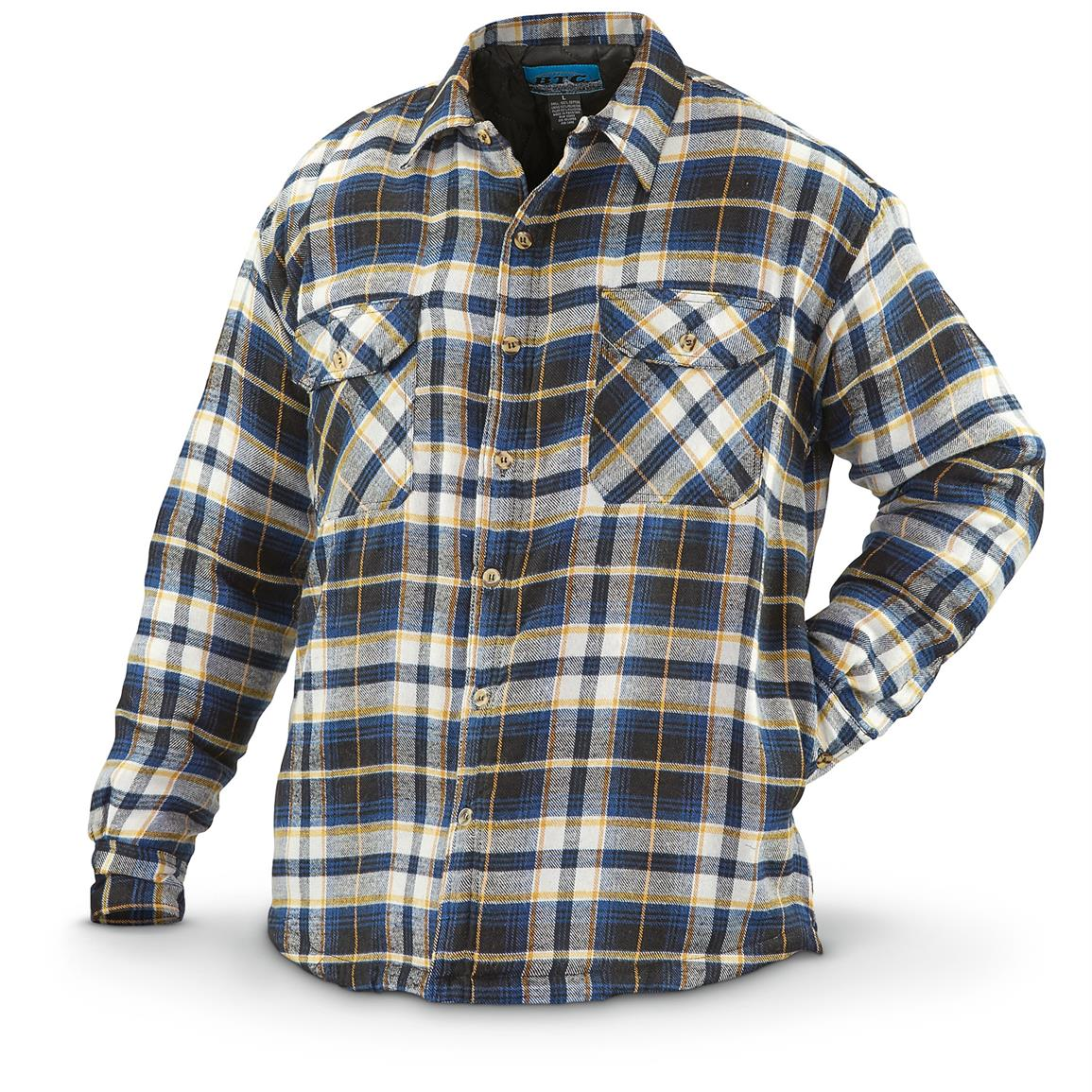 Men S Quilted Flannel Shirt Jacket 639198 Insulated