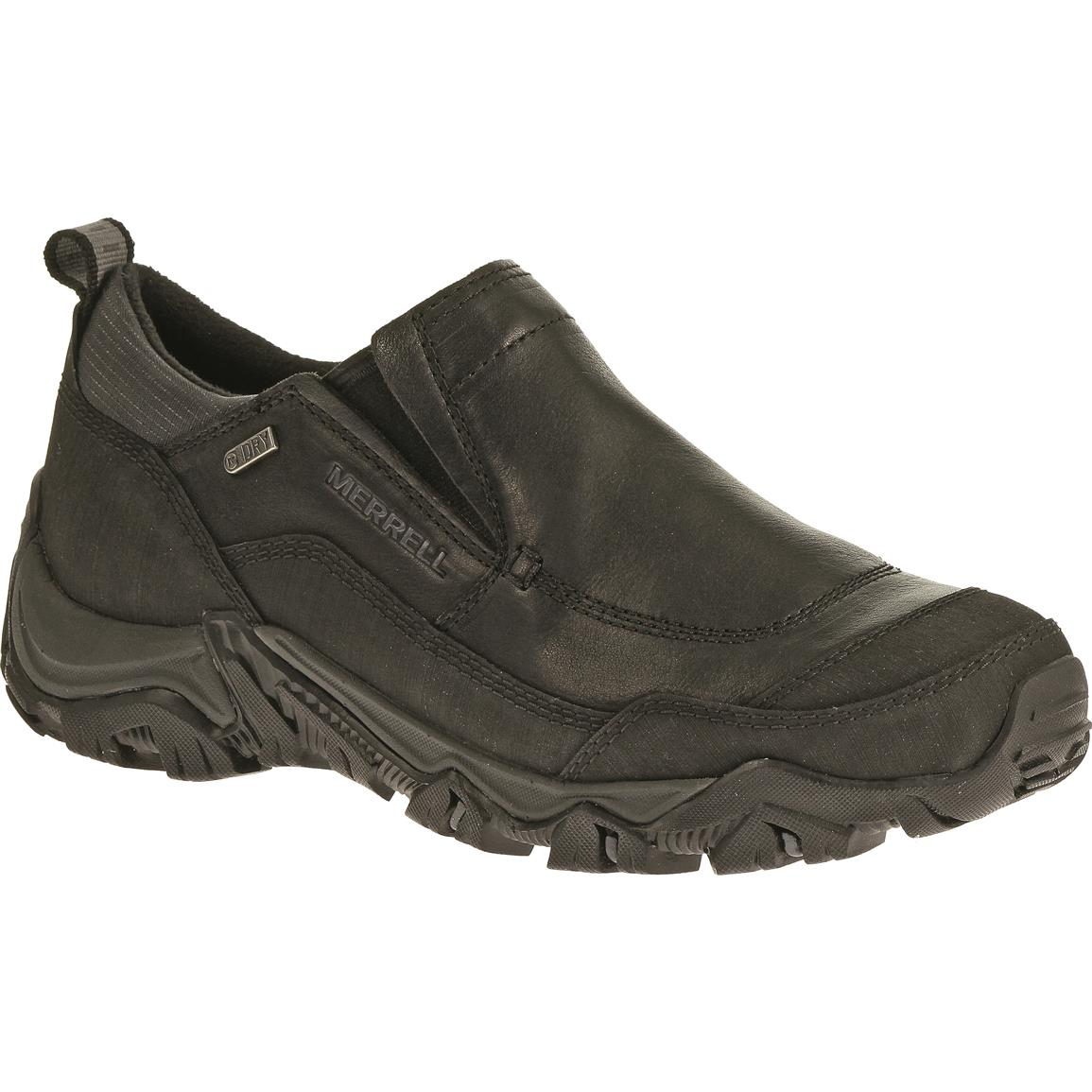 Merrell Polarand Rove Waterproof Moc Toe Slip-on Shoes, Black