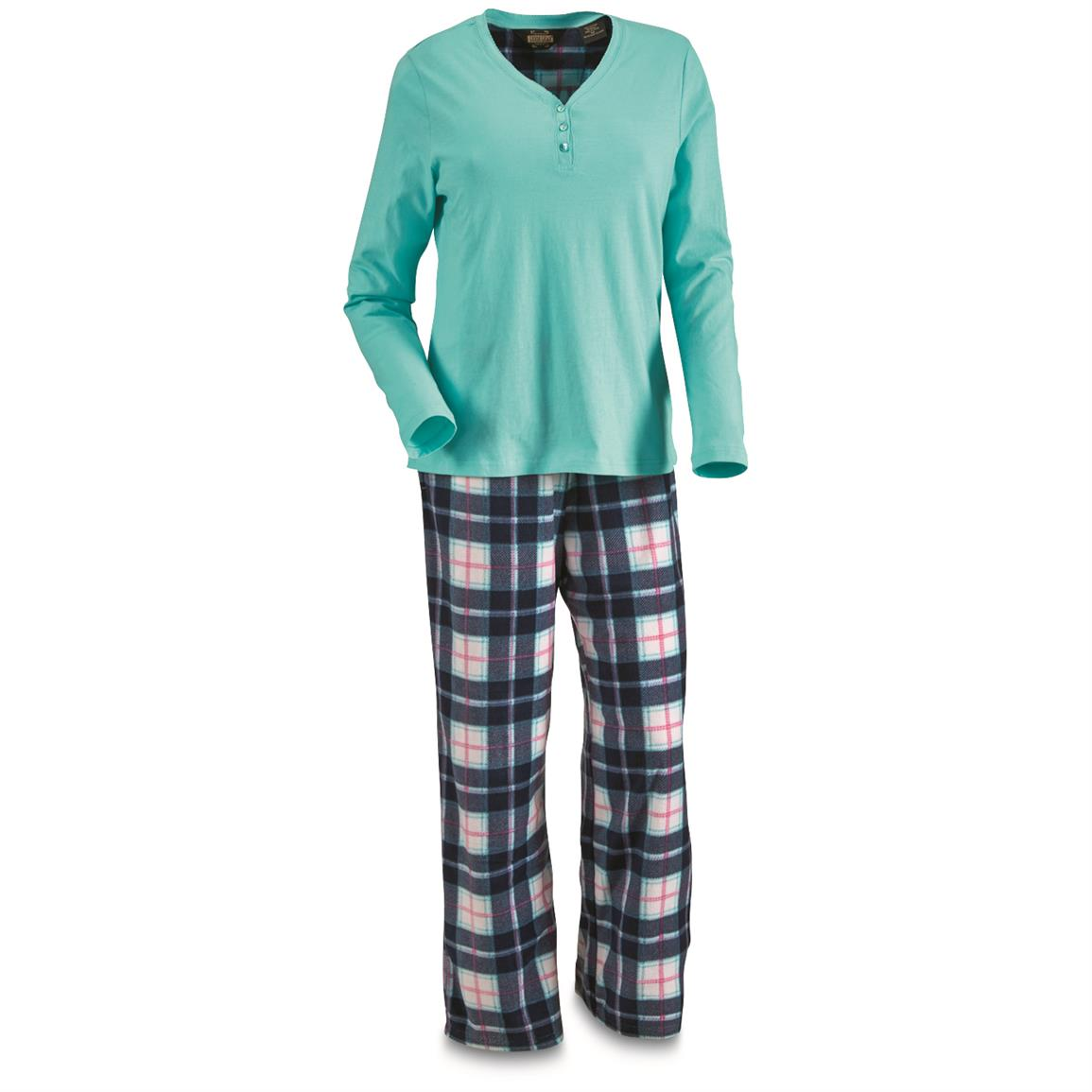 Guide Gear Women's Plaid Pajama Set, Blue Plaid