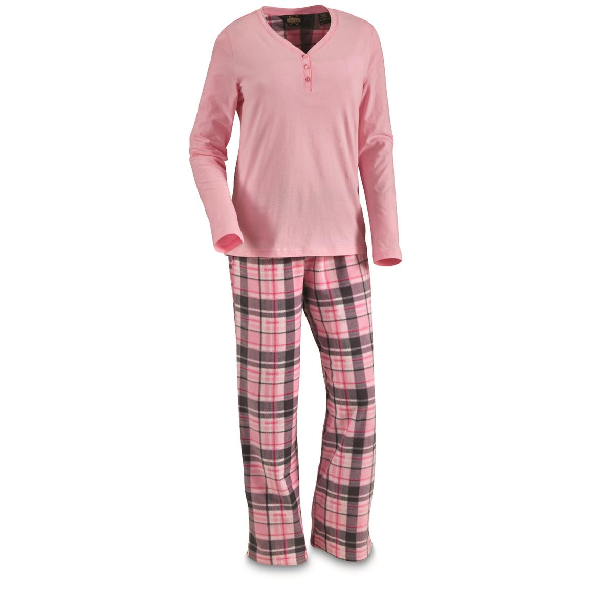 Guide Gear Women's Plaid Pajama Set, Pink Plaid