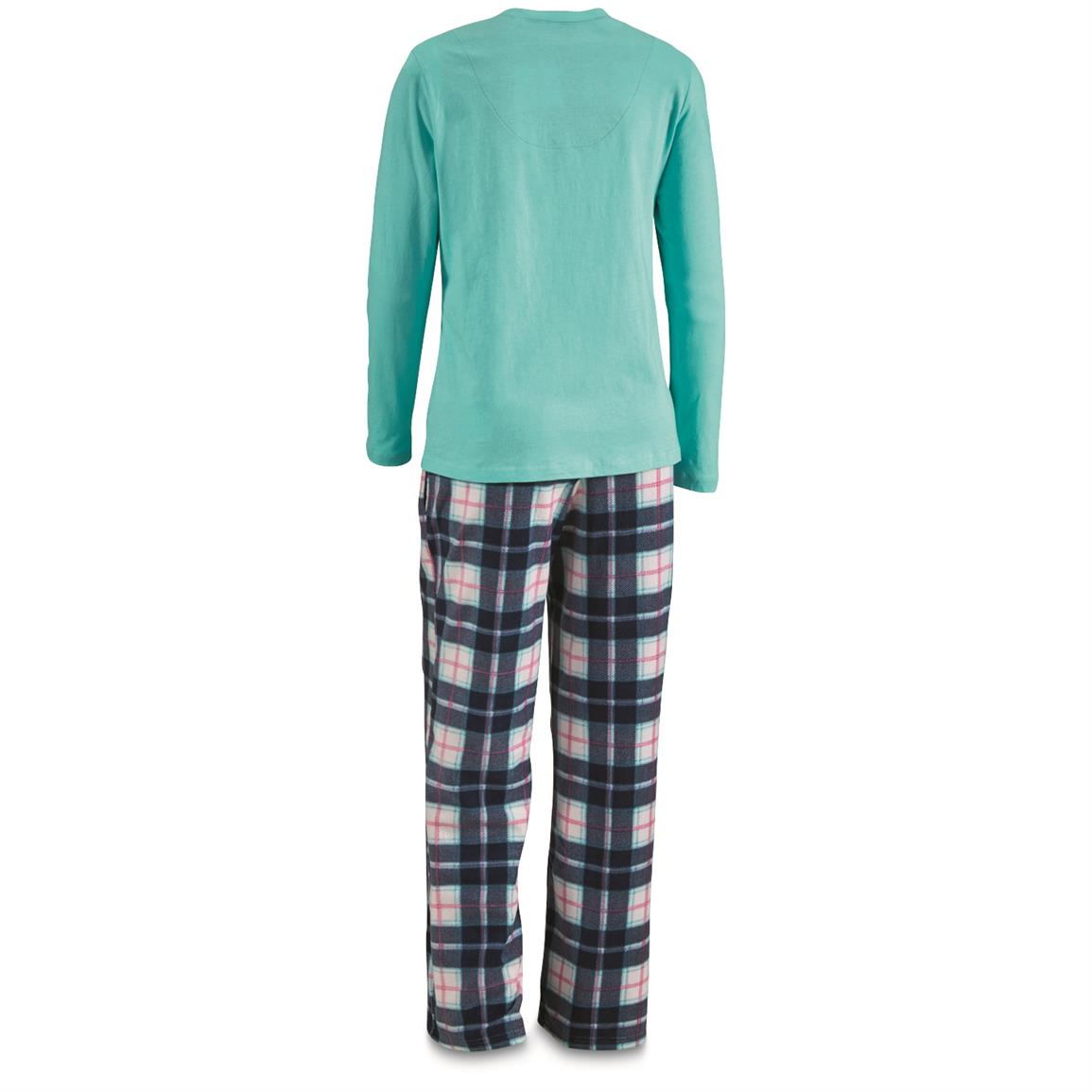 Guide Gear Women's Plaid Pajama Set, Blue Plaid, Back