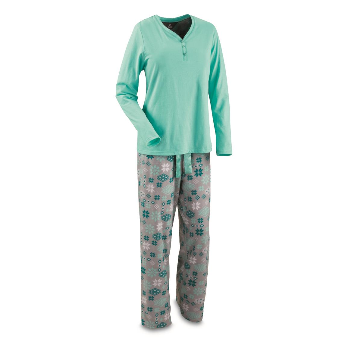 Guide Gear Women's 2 Piece Pajama Set, Mint