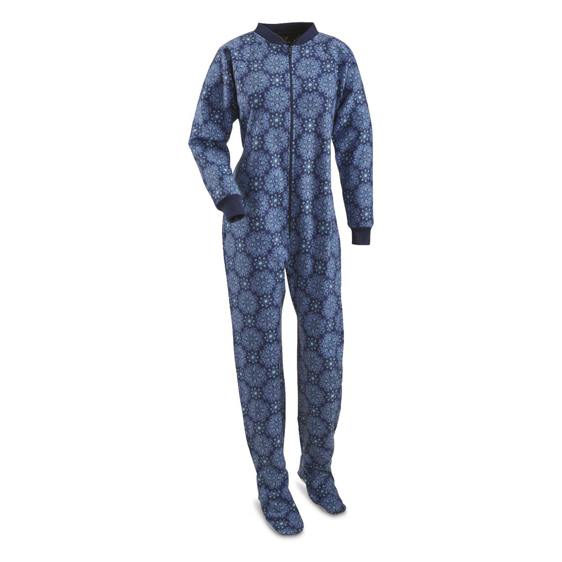 Guide Gear Women's Footed Onesie Pajamas, Blue Medallion