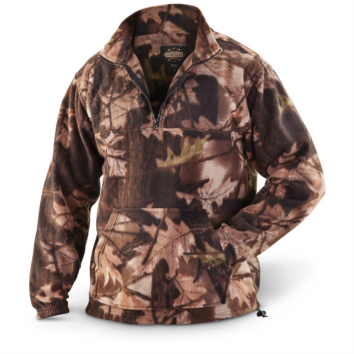 Guide Gear Men's Quarter Zip Camo Fleece Pullover Jacket