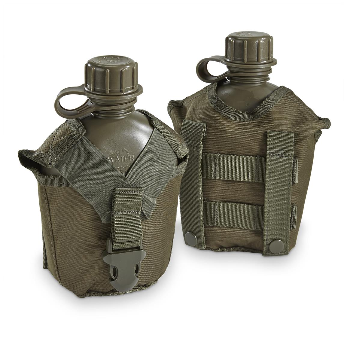 Red Rock Outdoor Gear Canteen with MOLLE Cover, 2 Pack, Olive Drab