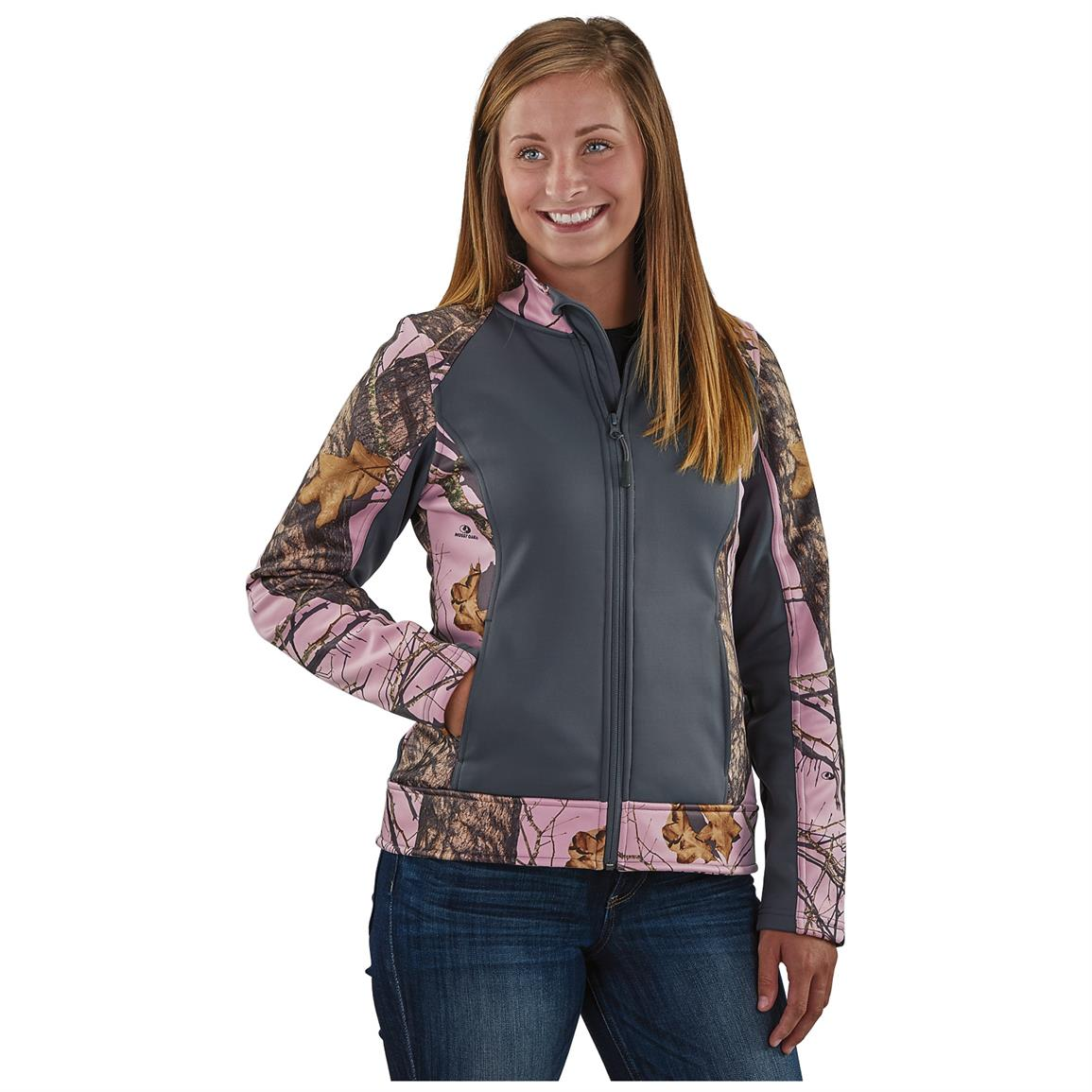 Guide Gear Women's Pink Camo Trim Soft Shell Jacket, Black / Mossy Oak Break-Up Pink