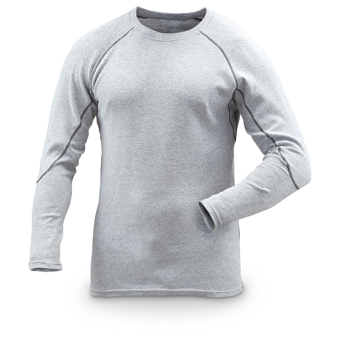Guide Gear Men's Midweight Thermal Base Layer Shirts, 2 Pack, Gray
