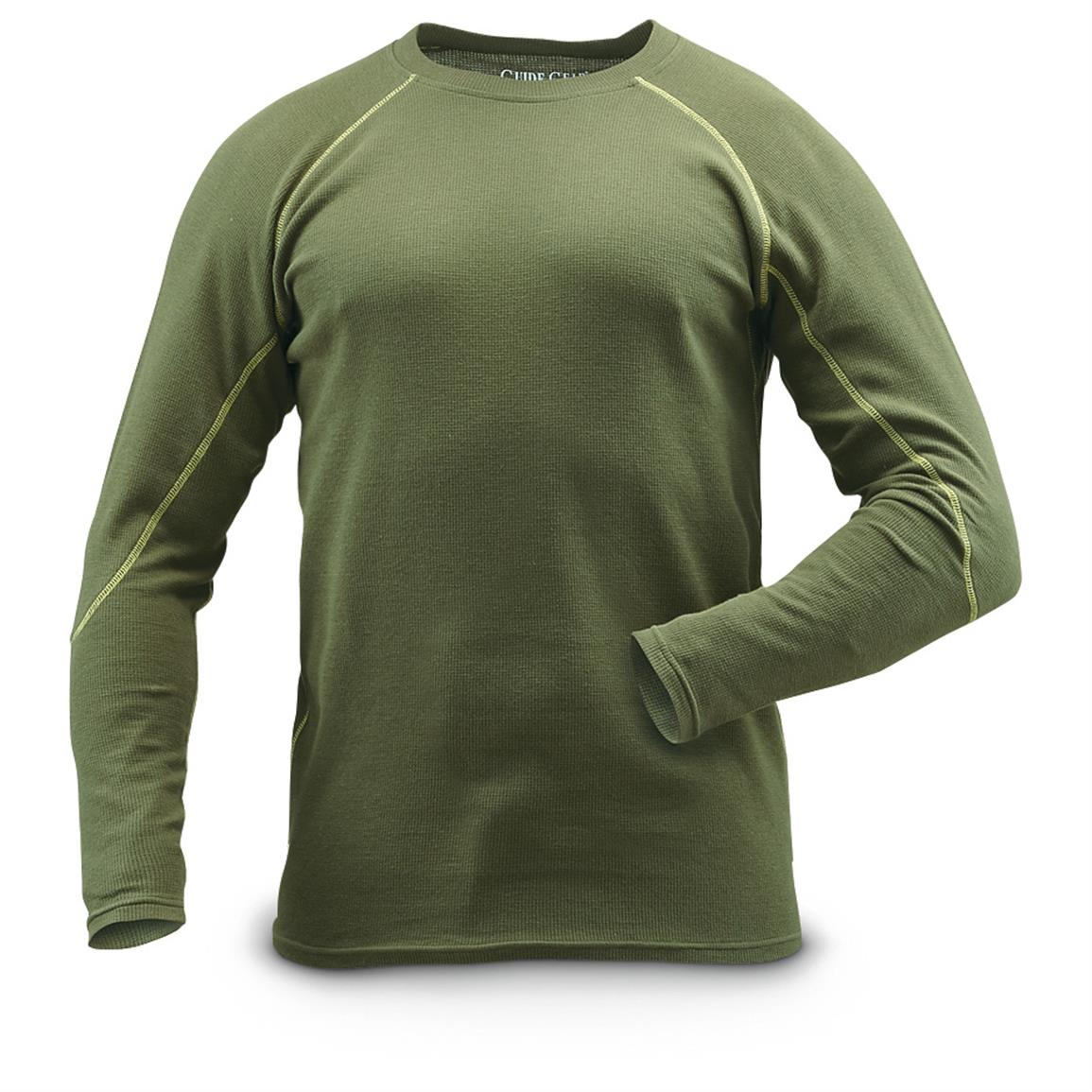 Guide Gear Men's Midweight Thermal Base Layer Shirts, 2 Pack, Olive