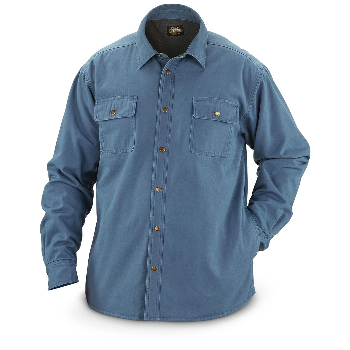 Guide Gear Men's Fleece-Lined Canvas Shirt Jacket, Navy