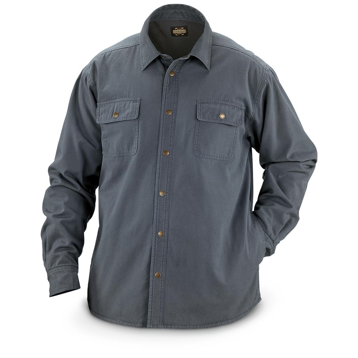 Guide Gear Men's Fleece-Lined Canvas Shirt Jacket, Charcoal