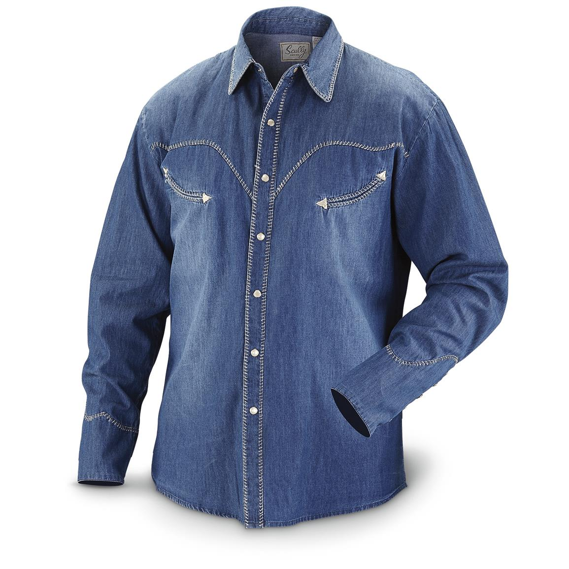 Scully Men's 823 Long-Sleeve Western Shirt, Blue