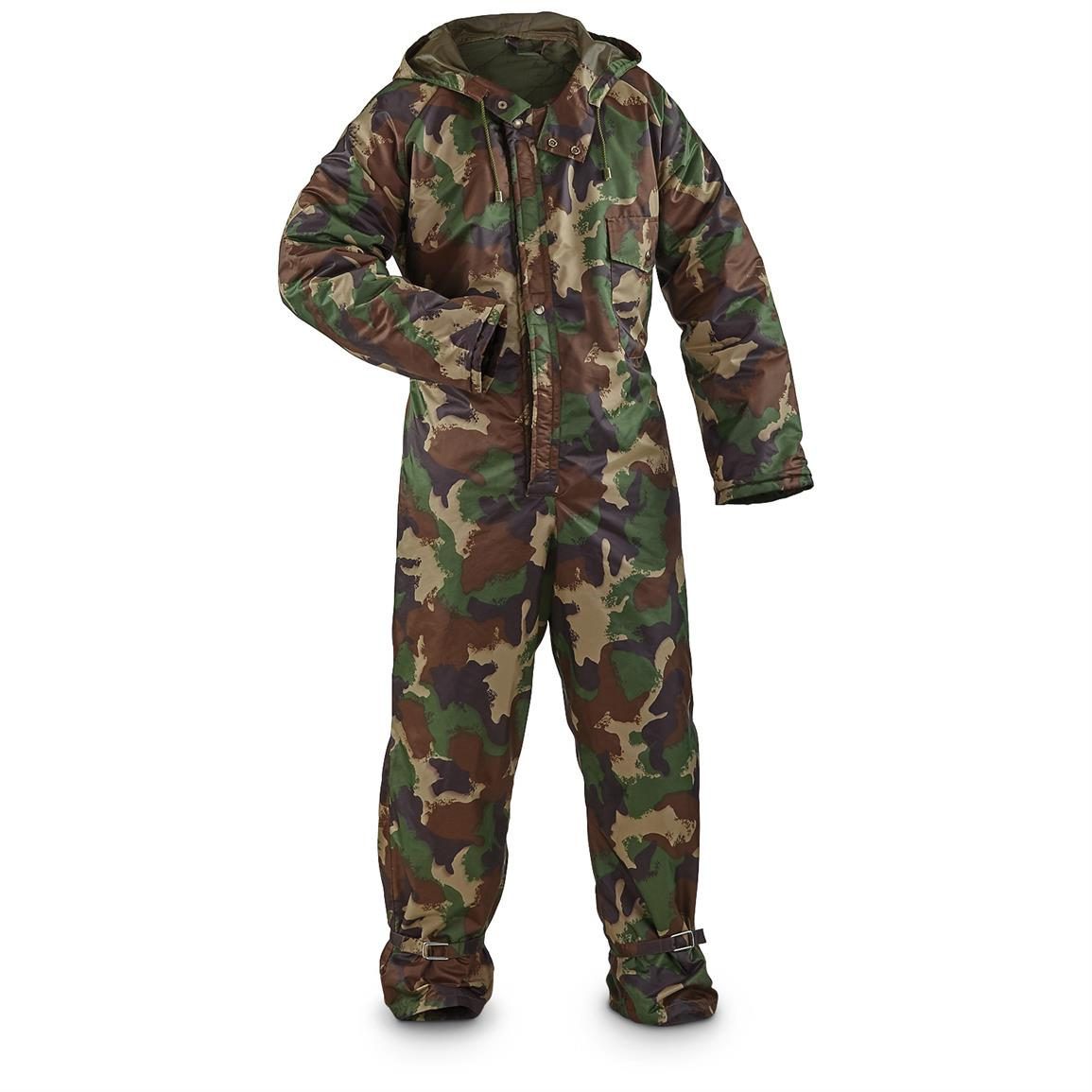 Used Hungarian Military Surplus Nylon Quilted Coveralls