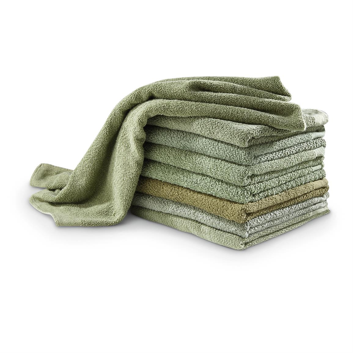 Used Military Surplus Towels, German, Cotton, 8-Pk.