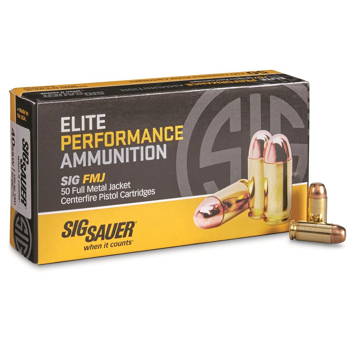 SIG Elite Performance, .40 Smith & Wesson, FMJ, 180 Grain, 50 Rounds