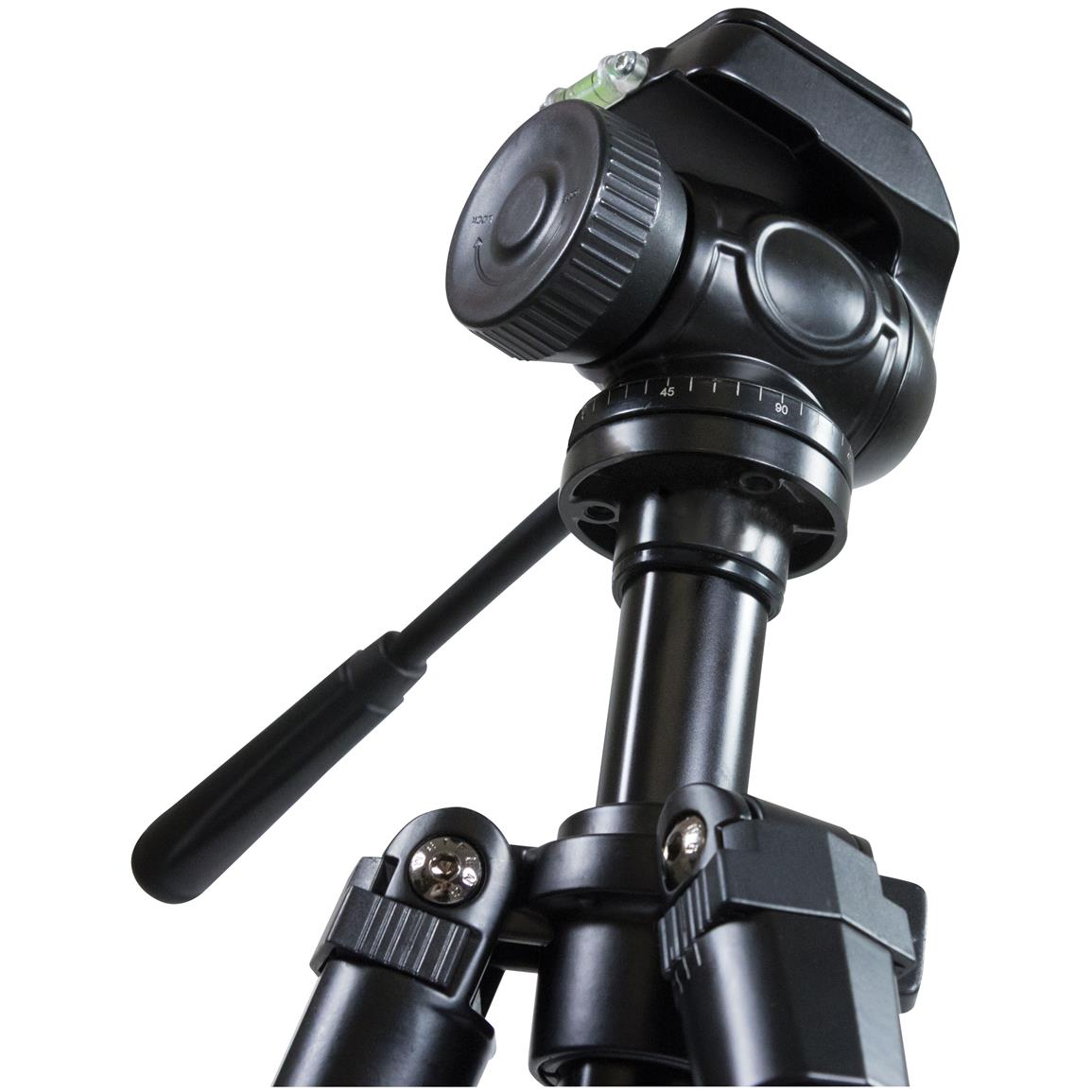 A 2-way fluid pan head makes for easy attachment and use of a spotting scope, binoculars, camera or a small telescope
