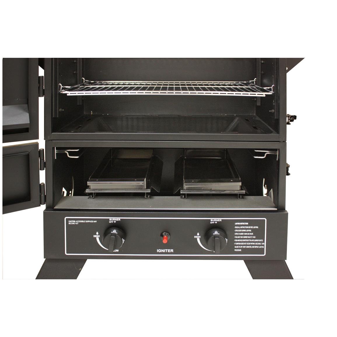 Dual, independently controlled stainless steel burners