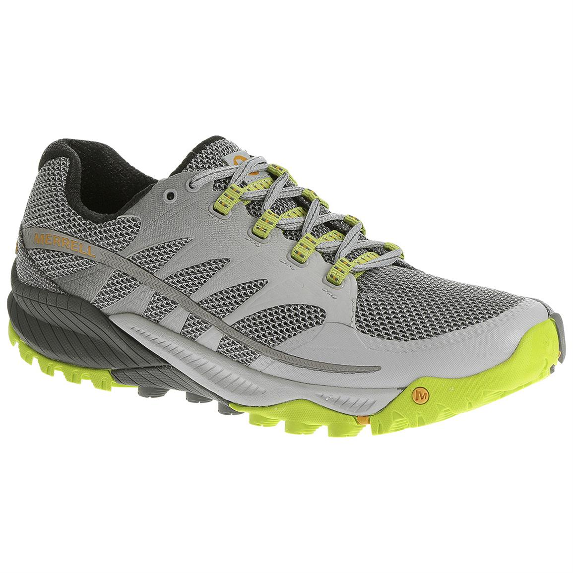 Merrell All Out Charge Trail Running Shoes, Grey / Lime Green