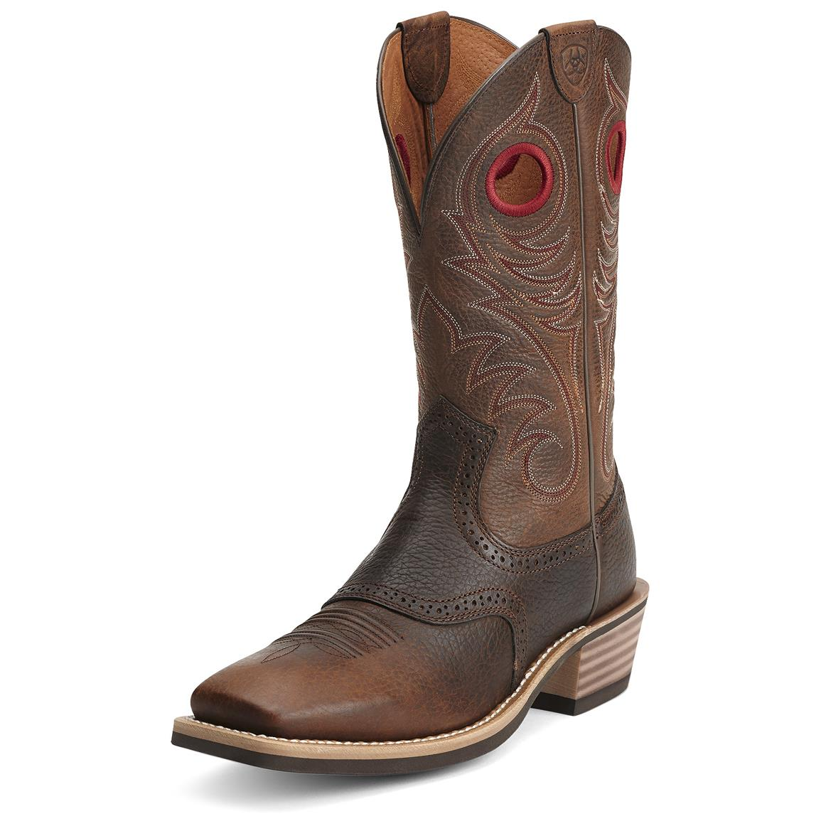 Ariat Heritage Roughstock Western Boots, Brown Oiled Rowdy