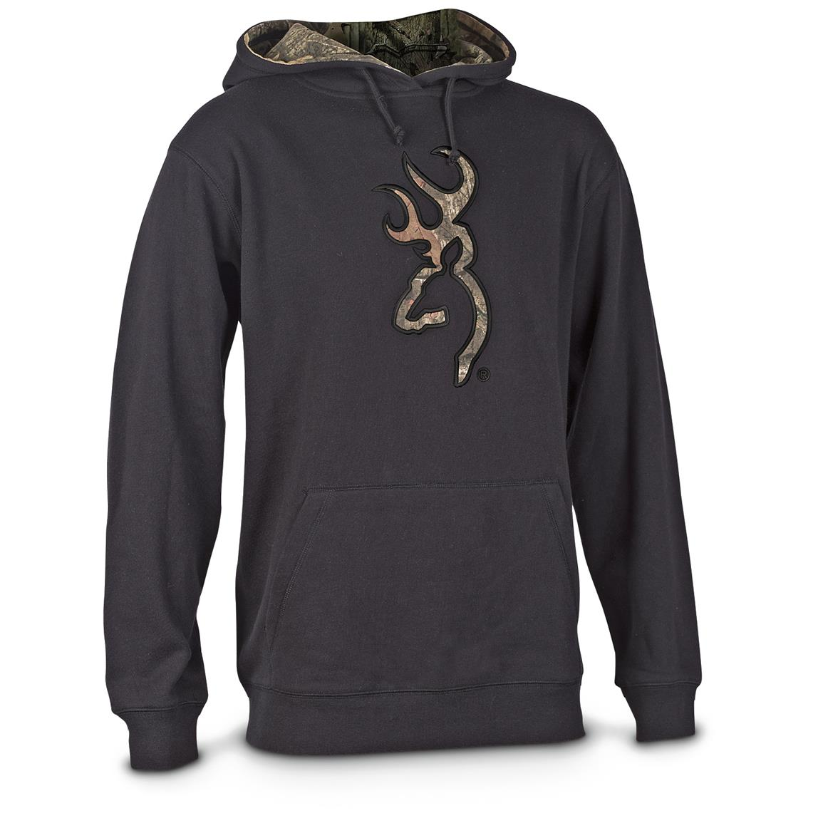 Browning Men's Applique Buckmark Hoodie Sweatshirt, Black / Mossy Oak Infinity