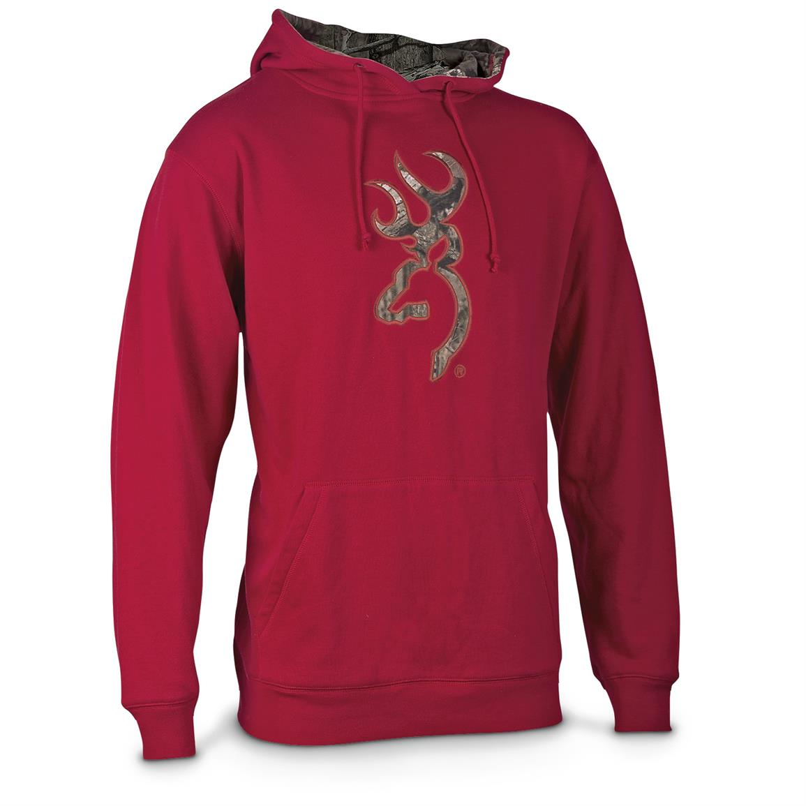 Browning Men's Applique Buckmark Hoodie Sweatshirt, Chili Pepper / Mossy Oak Infinity
