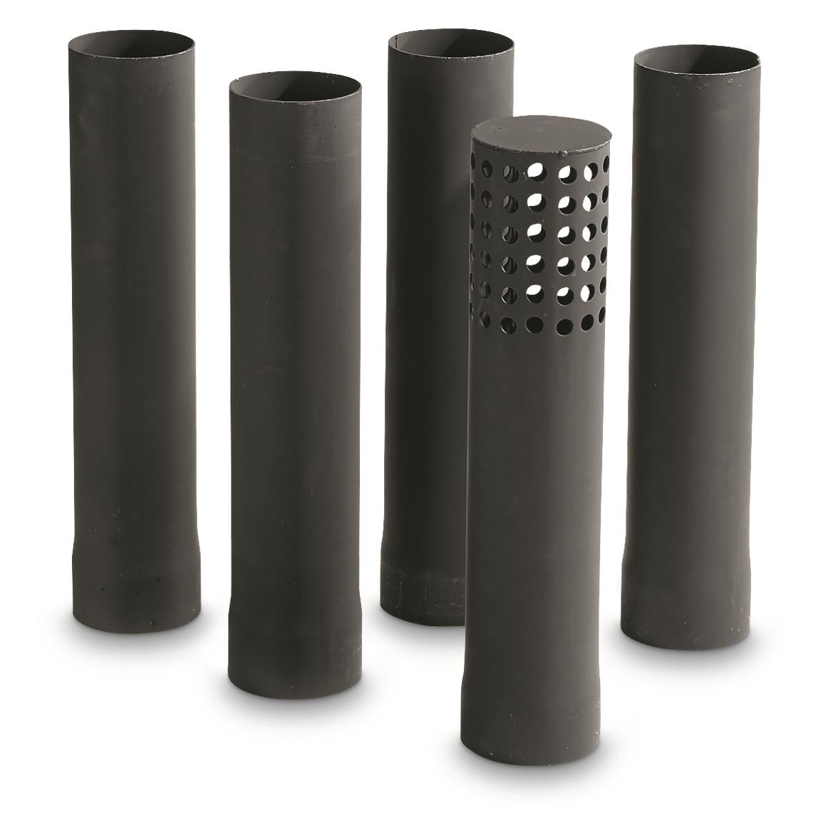 "Five 15.5""l. stove pipes are 3.375"" diameter"