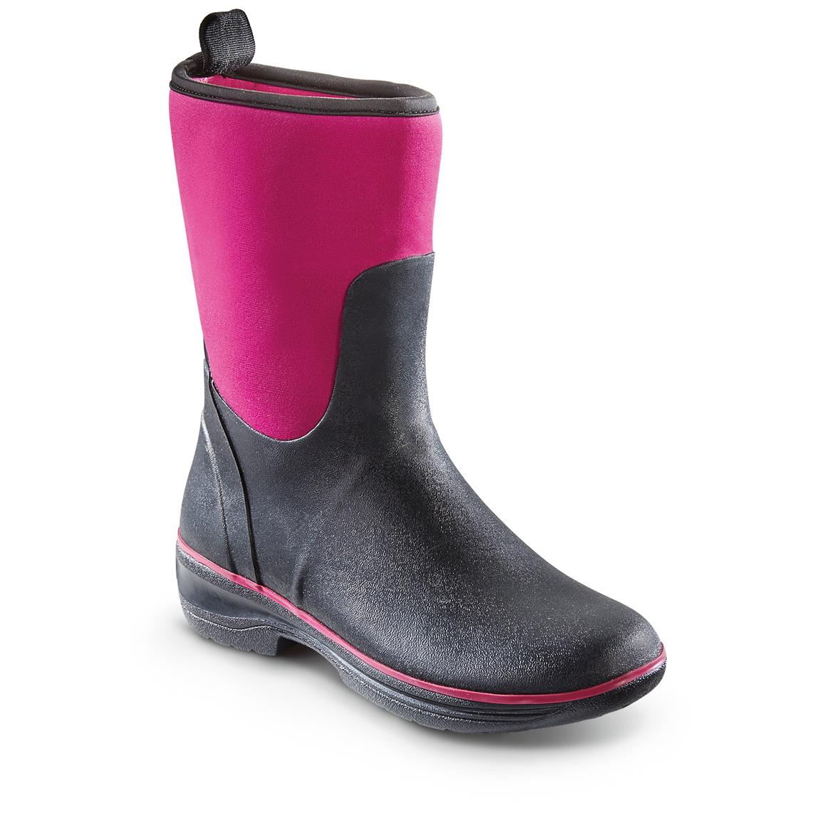 Western Chief Women's Neoprene Rubber Boots, Waterproof, Berry