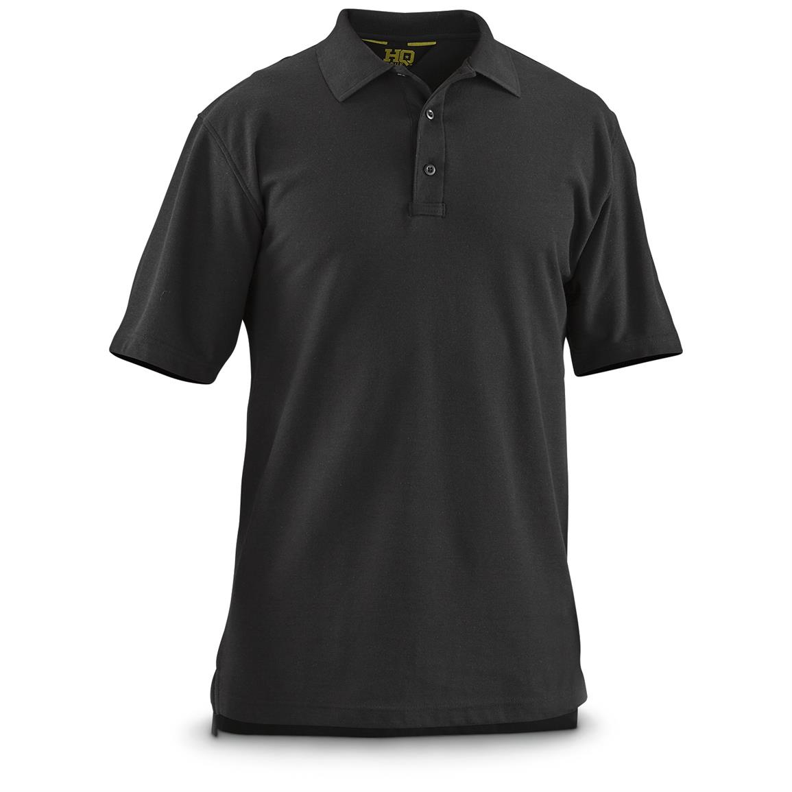 HQ ISSUE Men's Short-Sleeve Tactical Polo Shirt, Black