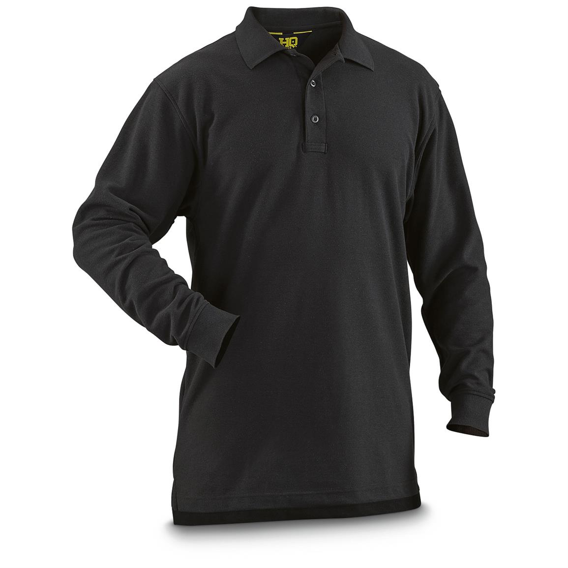 HQ ISSUE Men's Long-Sleeve Tactical Polo Shirt, Black