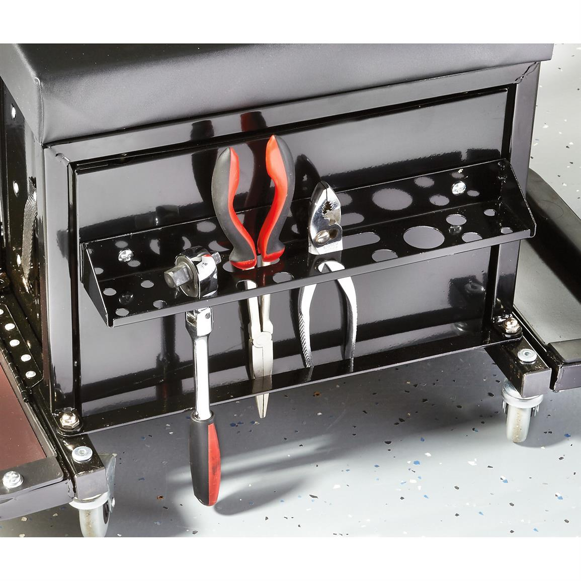 Rear tray supports screwdrivers and pliers